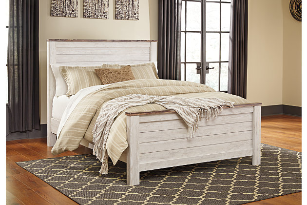 Willowton Queen Panel Bed, Whitewash, Large ...