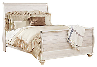 Willowton Queen Sleigh Bed with Mirrored Dresser, Whitewash, large