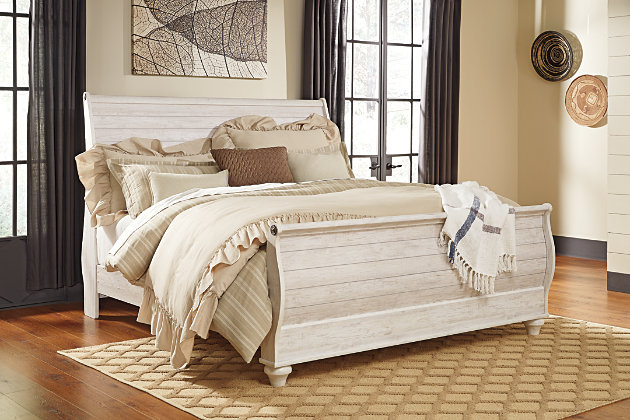 Willowton King Sleigh Bed with Mirrored Dresser and Chest, Whitewash, large