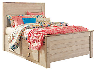 Willowton Twin Panel Bed with Storage, Whitewash, large