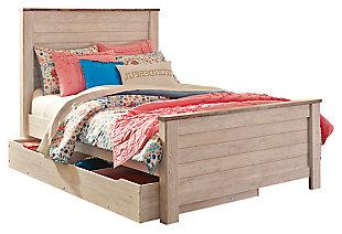 Willowton Full Panel Bed with 1 Large Storage Drawer, Whitewash, large