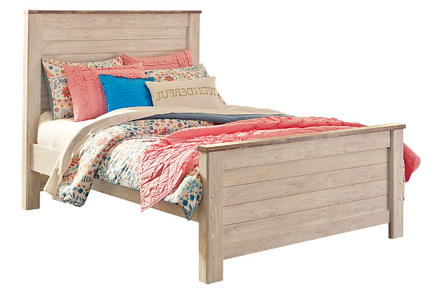 Willowton Full Panel Bed, Whitewash, large