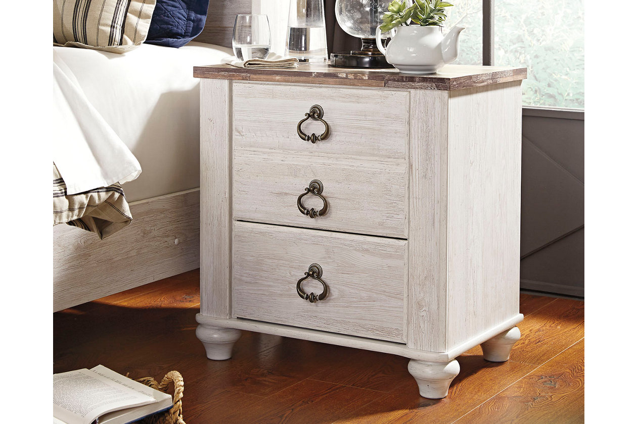 Willowton Nightstand Ashley Furniture Signature Design White Wash Rustic Farmhouse Style Pack of 2