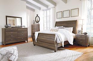 Birmington Queen Sleigh Bed, Brown, large