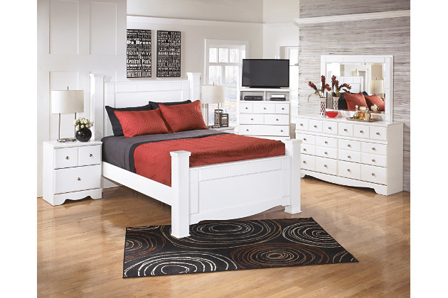 Weeki Queen Poster Bed, White, large