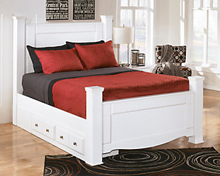 Weeki Queen Poster Bed with Storage, White, rollover