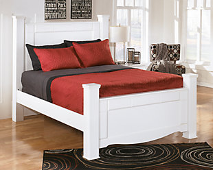 Weeki Queen Poster Bed, White, rollover