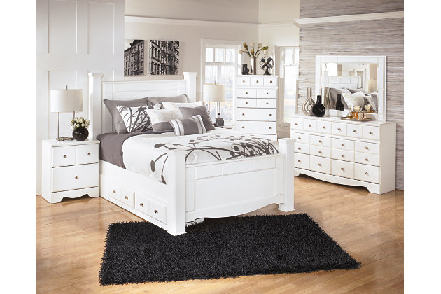 Weeki Queen Poster Storage Bed, White, large