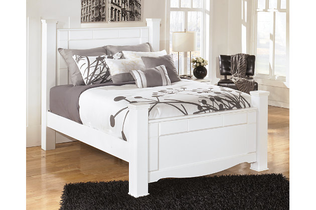 Weeki White Queen Poster Bed Frame
