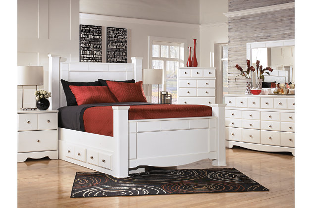 Weeki Queen Poster Bed with Storage, White, large