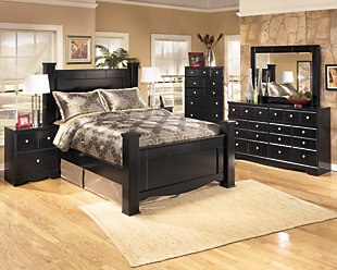 Shay Queen Poster Bed, Almost Black, large