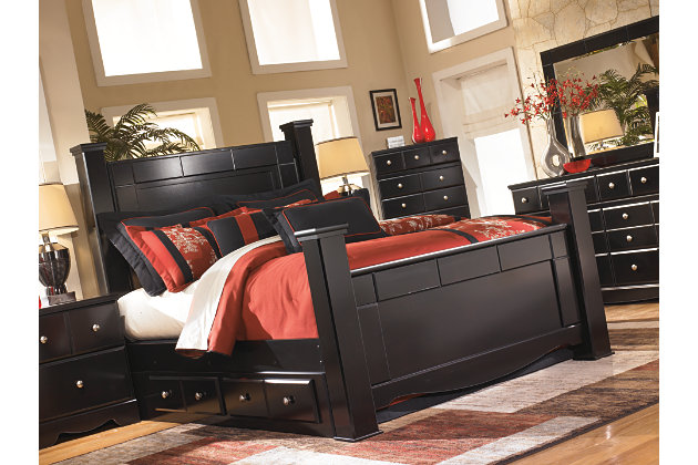 black four post bed frame with matching furniture set