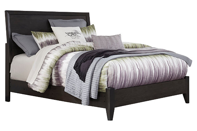 Daltori Queen Panel Bed, Black, large