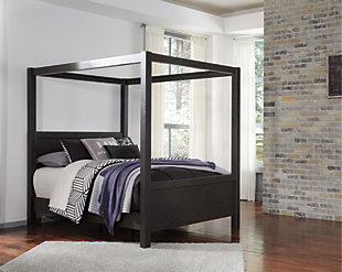 Daltori Queen Canopy Bed, Black, rollover