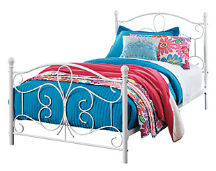 Nashburg Twin Metal Bed, White, large