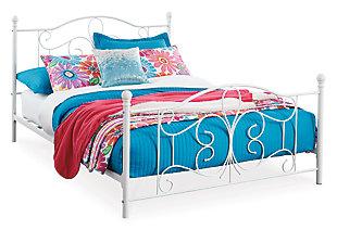 Nashburg Full Metal Bed, White, large