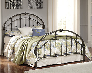 Nashburg Queen Metal Bed, Bronze Finish, rollover