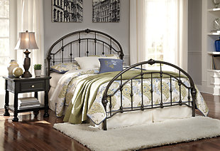 Nashburg Queen Metal Bed, Bronze Finish, large