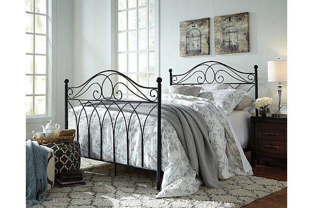 Black Nashburg Queen Metal Headboard/Footboard with Rails by Ashley HomeStore