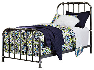 Nashburg Twin Metal Bed, Silver, large