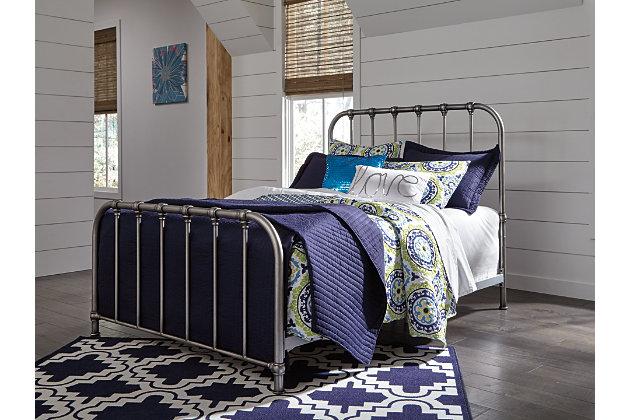 Nashburg Full Metal Bed, Silver, large