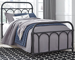 Nashburg Twin Metal Bed, Black, rollover