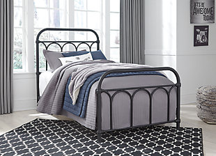 Nashburg Twin Metal Bed, Black, large