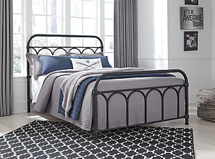 Nashburg Full Metal Bed, Black, large