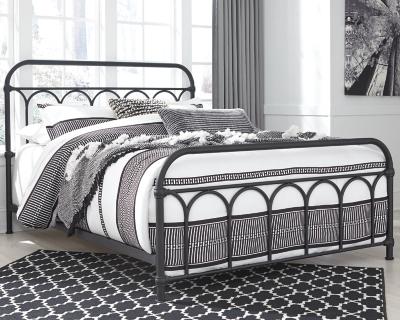 Nashburg Queen Metal Bed, Black, large