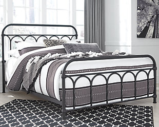Nashburg Queen Metal Bed, Black, rollover