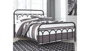 Nashburg Queen Metal Bed, Black, rollover
