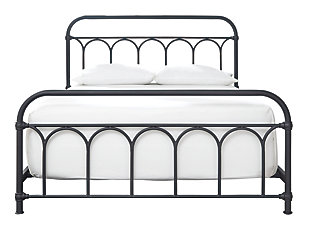 Nashburg Queen Metal Bed, Black, large