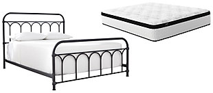 Nashburg Queen Metal Bed with Mattress, , large