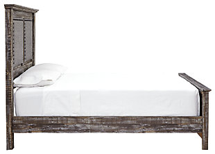 Lynnton Queen Upholstered Panel Bed, Rustic Brown, large