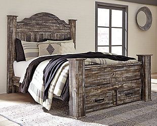 Lynnton Queen Poster Bed with 2 Storage Drawers, Rustic Brown, rollover