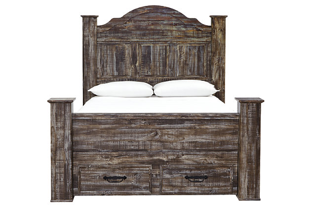 Lynnton Queen Poster Bed with 2 Storage Drawers, Rustic Brown, large