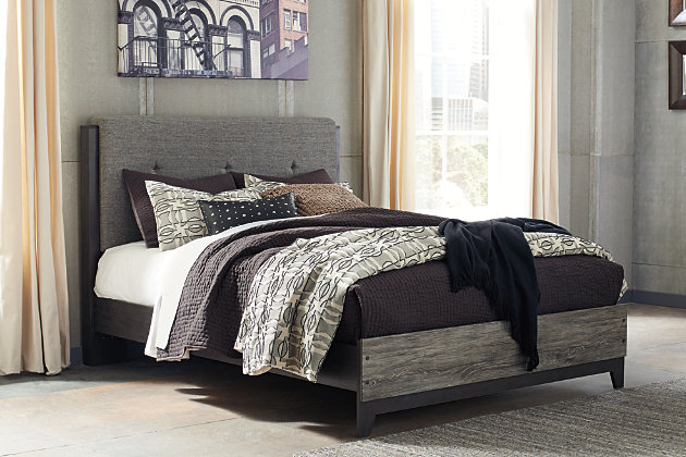Micco Queen Panel Upholstered Bed, Multi, large