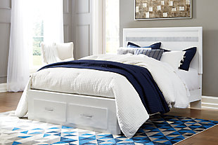 Jallory Queen Panel Bed with 2 Storage Drawers, White, large