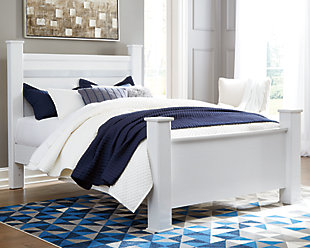 Jallory Queen Poster Bed, White, rollover