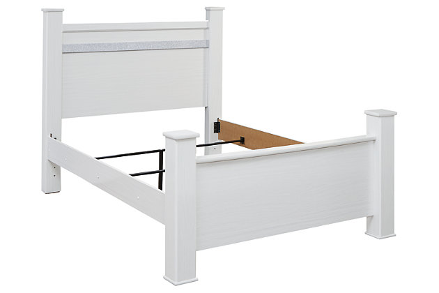 Jallory Queen Poster Bed, White, large