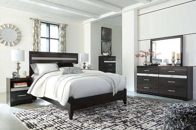 Starberry Queen Panel Bed, Black, large