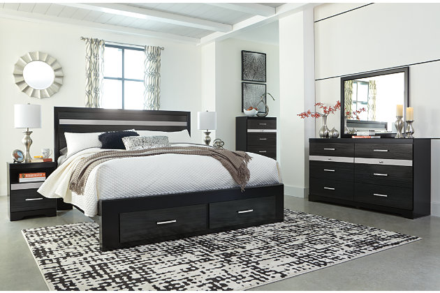 Starberry King Panel Bed with Storage, Black, large