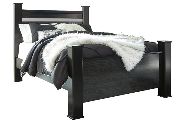 Starberry Queen Poster Bed, Black, large