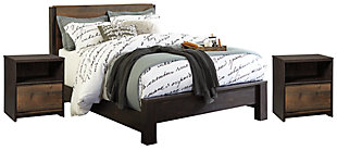 Windlore Queen Panel Bed with 2 Nightstands, Dark Brown, large