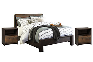 Windlore Queen Bed with 2 Nightstands, Dark Brown, large