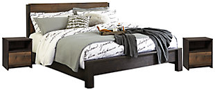 Windlore King Panel Bed with 2 Nightstands, Dark Brown, large