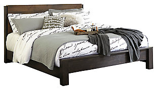 Windlore Queen Panel Bed, Dark Brown, large