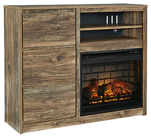 Rusthaven Media Chest with Electric Fireplace, , large