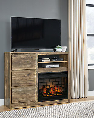 Rusthaven Media Chest with Electric Fireplace, , rollover