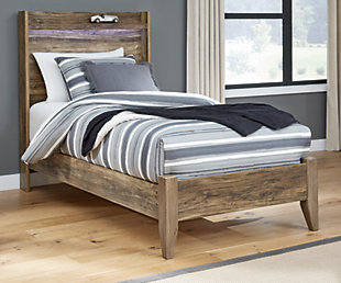 Rusthaven Twin Panel Bed, Brown, rollover